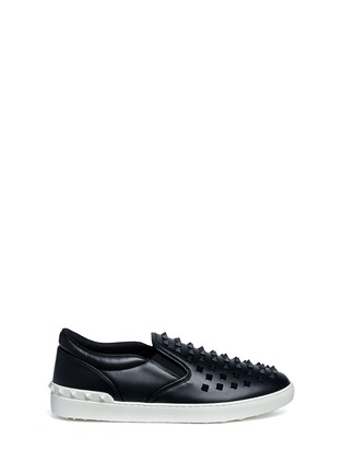 Main View - Click To Enlarge - Valentino - 'Rockstud' leather skate slip-ons