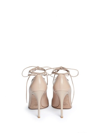 Back View - Click To Enlarge - Valentino - 'Rockstud' caged lace-up leather pumps