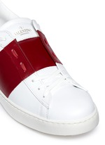 Colourblock leather stud sneakers