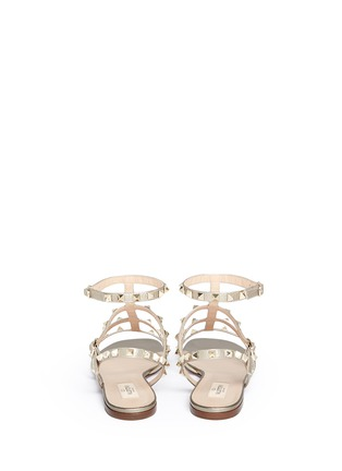 Back View - Click To Enlarge - Valentino - 'Rockstud' caged leather sandals
