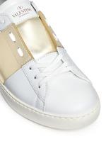 Colourblock leather stud sneakers