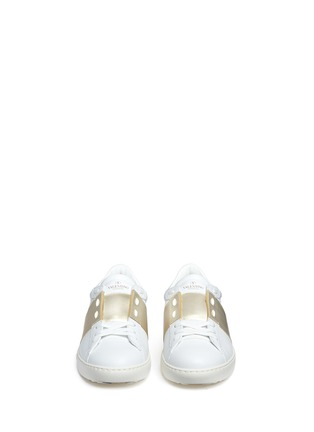 Figure View - Click To Enlarge - Valentino - Colourblock leather stud sneakers