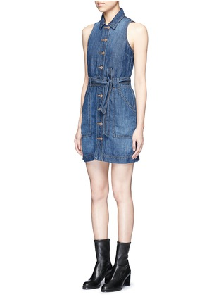 Front View - Click To Enlarge - J Brand - 'Caressa' belted denim dress