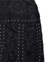 Stud floral guipure lace godet skirt