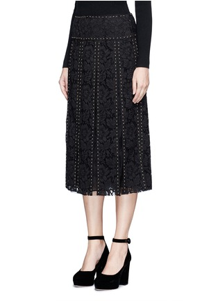 Front View - Click To Enlarge - Valentino - Stud floral guipure lace godet skirt