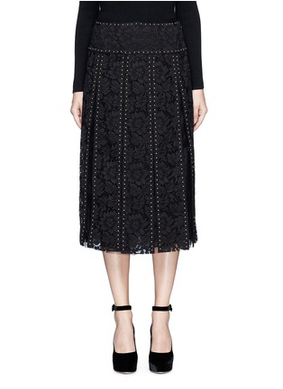 Main View - Click To Enlarge - Valentino - Stud floral guipure lace godet skirt