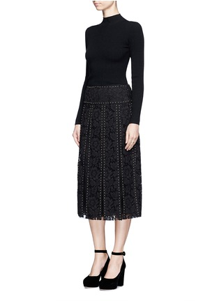 Figure View - Click To Enlarge - Valentino - Stud floral guipure lace godet skirt
