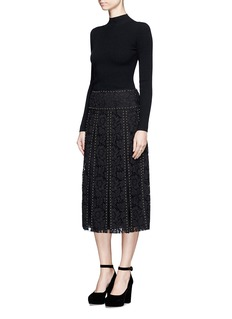 VALENTINO Stud floral guipure lace godet skirt