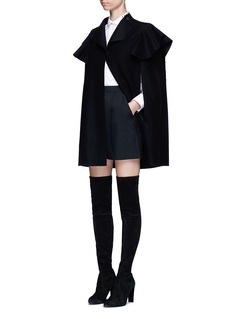 Valentino Quilted ruffle trim virgin wool cape jacket