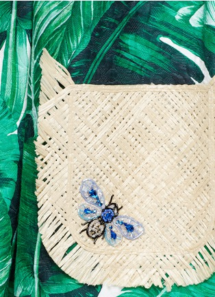 Detail View - Click To Enlarge - Dolce & Gabbana - Jewelled banana leaf print brocade wicker pocket dress