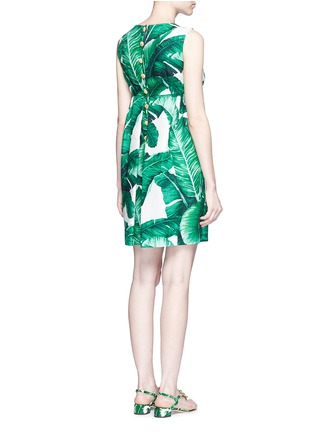 Back View - Click To Enlarge - Dolce & Gabbana - Jewelled banana leaf print brocade wicker pocket dress