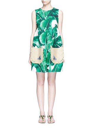 Main View - Click To Enlarge - Dolce & Gabbana - Jewelled banana leaf print brocade wicker pocket dress