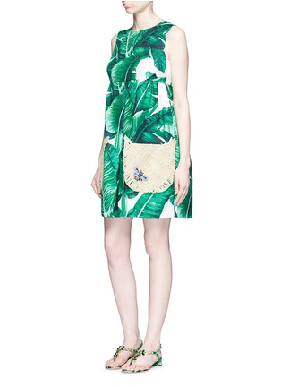 Figure View - Click To Enlarge - Dolce & Gabbana - Jewelled banana leaf print brocade wicker pocket dress