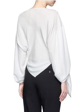 Back View - Click To Enlarge - Balenciaga - Drape split sleeve silk top