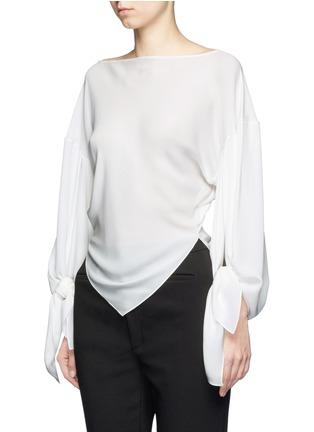 Front View - Click To Enlarge - Balenciaga - Drape split sleeve silk top
