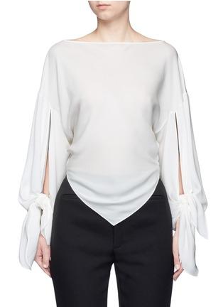 Main View - Click To Enlarge - Balenciaga - Drape split sleeve silk top
