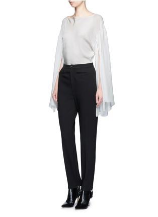 Figure View - Click To Enlarge - Balenciaga - Drape split sleeve silk top