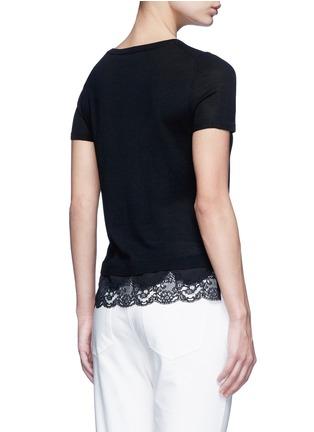 背面 - 点击放大 - THEORY - LILANY羊毛拼接花卉蕾丝针织衫