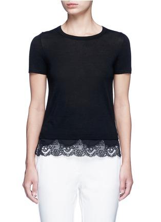 Theory-'Lilany' scalloped lace hem wool sweater
