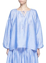 Neck tie gathered chambray top