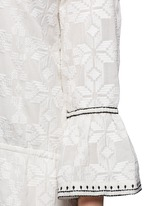 'Ria' neck tie geometric embroidery dress