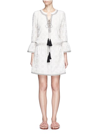 Main View - Click To Enlarge - Talitha - 'Ria' neck tie geometric embroidery dress