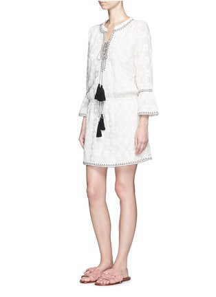 Figure View - Click To Enlarge - Talitha - 'Ria' neck tie geometric embroidery dress