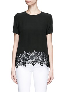 Equipment 'Riley' floral lace hem silk T-shirt