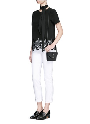 Figure View - Click To Enlarge - Equipment - 'Riley' floral lace hem silk T-shirt
