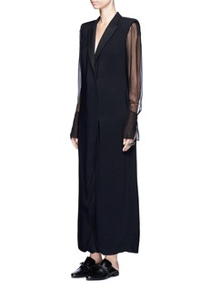 Lanvin Chiffon sleeve crepe suiting dress