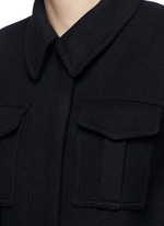 Wool blend melton belted overcoat