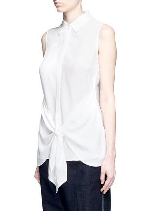 Theory-'Zallane' tie front sleeveless silk shirt