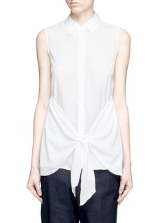 THEORY'Zallane' tie front sleeveless silk shirt