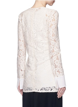 Back View - Click To Enlarge - Lanvin - Silk cuff floral guipure lace top
