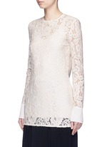 Silk cuff floral guipure lace top