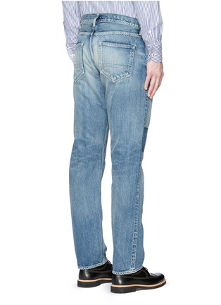 Back View - Click To Enlarge - FDMTL - 'Trace Case Study 22' sashiko boro patchwork jeans