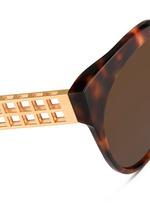 22k gold caged titanium temple oversize tortoiseshell acetate sunglasses