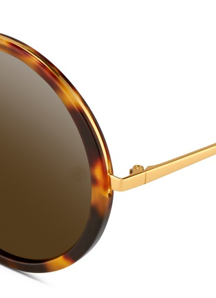 Detail View - Click To Enlarge - Linda Farrow - Tortoiseshell acetate oversize round titanium sunglasses