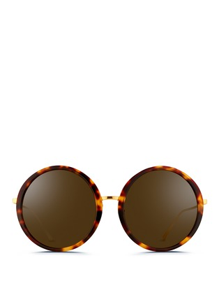 Main View - Click To Enlarge - Linda Farrow - Tortoiseshell acetate oversize round titanium sunglasses