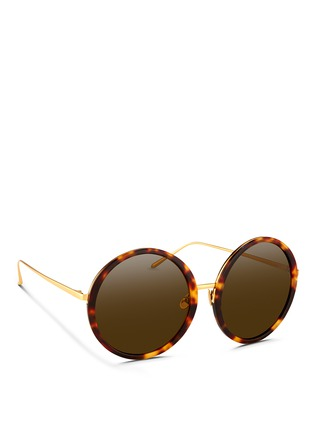 Figure View - Click To Enlarge - Linda Farrow - Tortoiseshell acetate oversize round titanium sunglasses