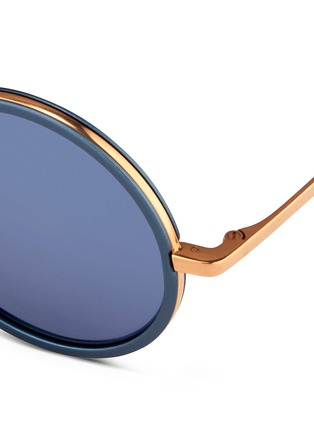 Detail View - Click To Enlarge - Linda Farrow - Aluminum rim round titanium matte mirror sunglasses