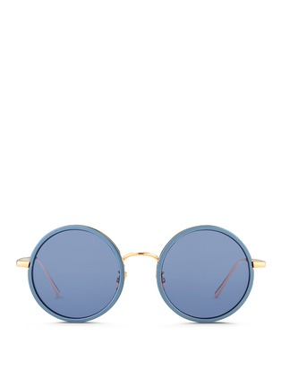 Main View - Click To Enlarge - Linda Farrow - Aluminum rim round titanium matte mirror sunglasses