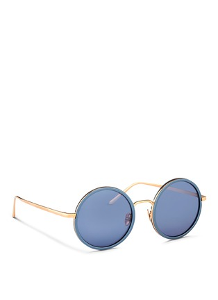 Figure View - Click To Enlarge - Linda Farrow - Aluminum rim round titanium matte mirror sunglasses