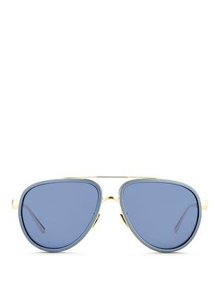 Main View - Click To Enlarge - Linda Farrow - Inset aluminium rim titanium aviator mirror sunglasses