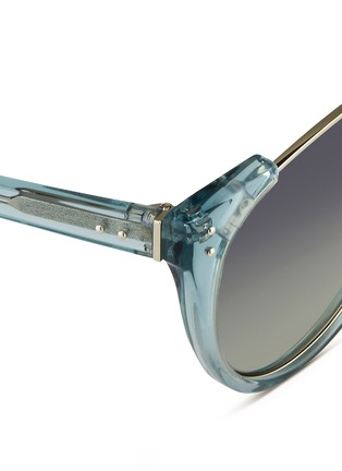 Detail View - Click To Enlarge - Linda Farrow - 'Upside Down Browline' titanium rim acetate sunglasses