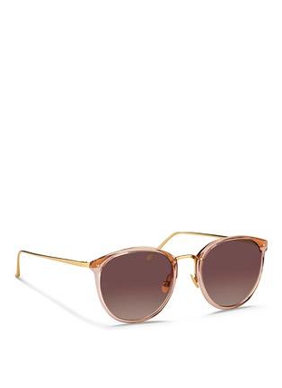 Linda Farrow-Titanium temple acetate round sunglasses