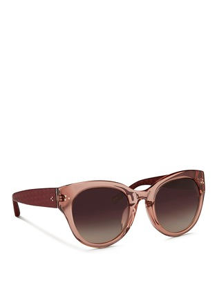 Figure View - Click To Enlarge - Linda Farrow - Snakeskin temple oversize acetate gradient sunglasses