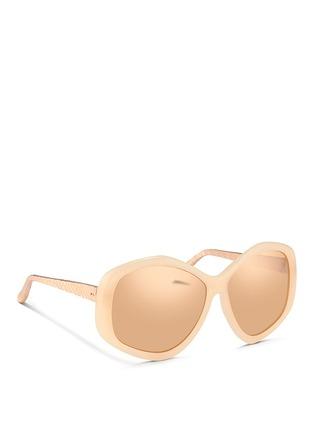 Linda Farrow-Metallic snakeskin temple oversize pentagon mirror sunglasses