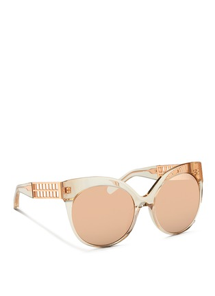 Figure View - Click To Enlarge - Linda Farrow - Caged titanium temple oversize acetate sunglasses
