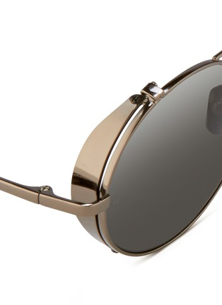 Detail View - Click To Enlarge - Linda Farrow - Titanium blinker round mirror sunglasses